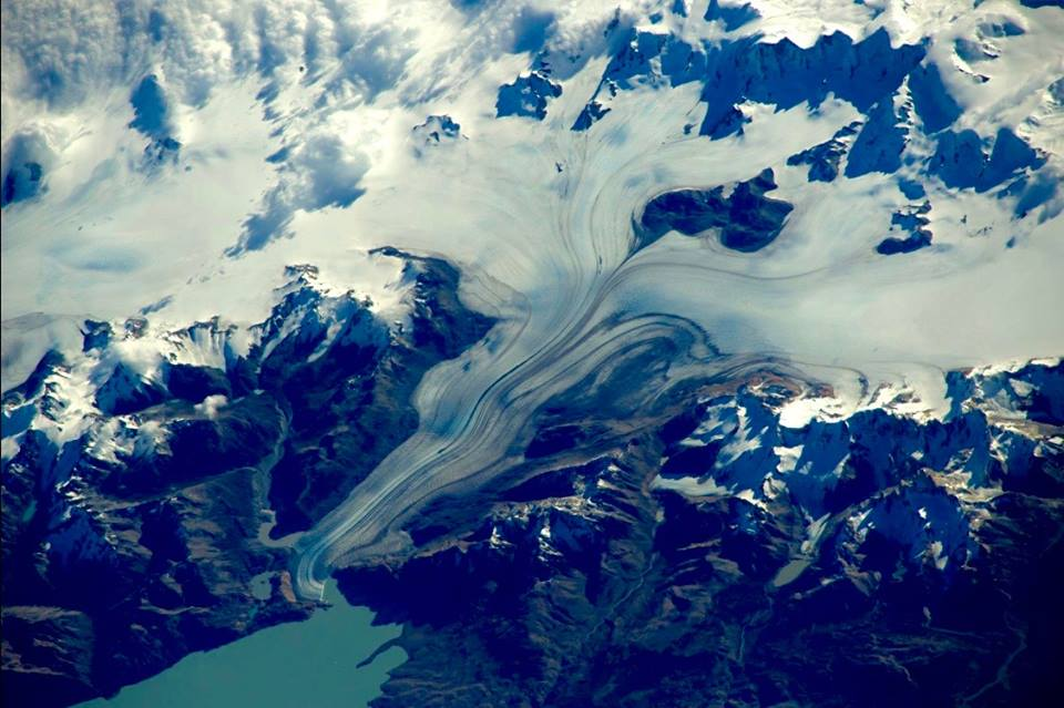 Glaciar Viedma, picture by astronaut Tim Peake. European Space Agency/NASA